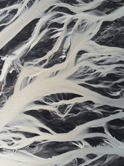 Aerial view on glacier rivers in Iceland IX