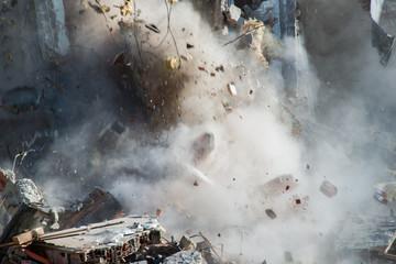 Building demolition in Paris 13