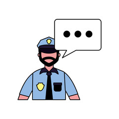 policeman character speech bubble