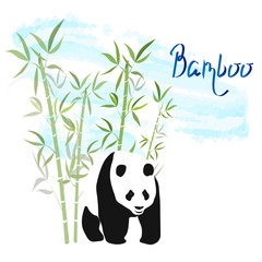 Bamboo with giant panda. Simple vector illustration.