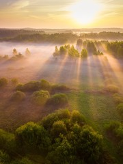 Beautiful foggy morning landscape photographed from above