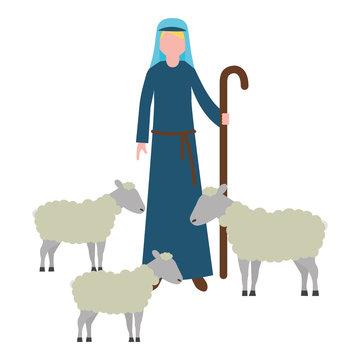 shepherd with flock sheep character