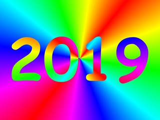 number 2019, new year, over colored background.