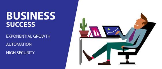 Online successful business, passive income (Vector Illustration)