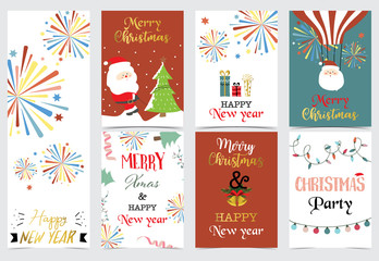 Green red christmas card with christmas tree,sock,gift,balloon,light,firework and santa claus