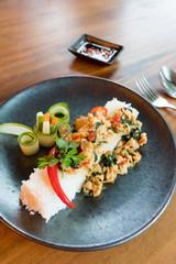 Stir-fried pork with Basil Thailand cuisine