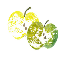 Watercolor illustration of green and yellow apples