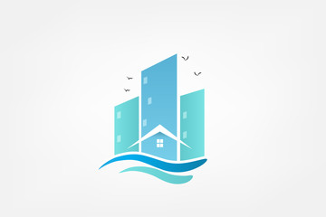 Logo modern buildings on beach vector