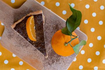 Chocolate orange tart with orange fruit