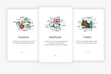 Onboarding screens design in healthcare concept. Modern and simplified vector illustration, Template for mobile apps.