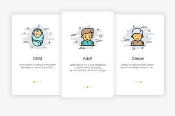 Onboarding screens design in dessert concept. Modern and simplified vector illustration, Template for mobile apps.
