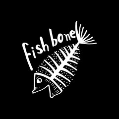 Fish bone, fish skeleton for shirt design, poster, logo.