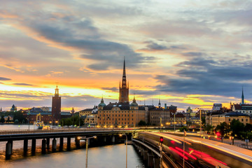 Wall Mural - View of Stockholm city during sunset time.
