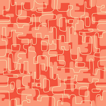 Seamless abstract mid century modern pattern for backgrounds, fabric design, wrapping paper, scrapbooks and covers. Retro design of organic lines and shapes. Vector illustration.