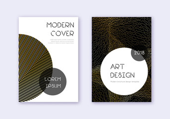 Trendy cover design template set. Gold abstract li