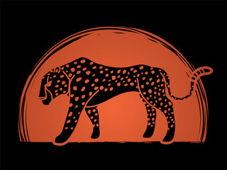 Cheetah side view tiger graphic vector