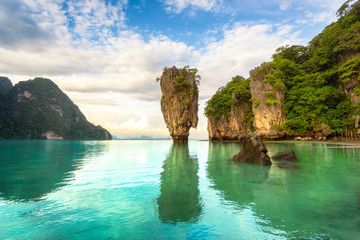 James Bond island, Phuket Thailand nature. Asia travel photography of James Bond island in Phang Nga bay. Thai scenic exotic landscape of tourist destination famous place.