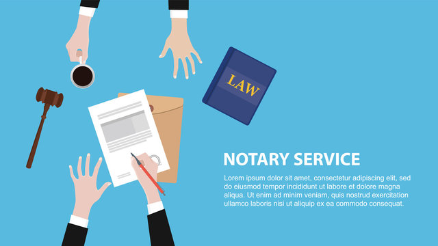 notary service concept banner with legal team discuss and signing paper document