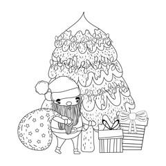 cute christmas santa claus with pine tree