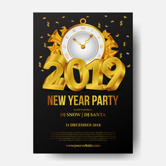 Happy new year party invitation 2019 gold number and classic clock and confetti. vector illustration. poster banner template
