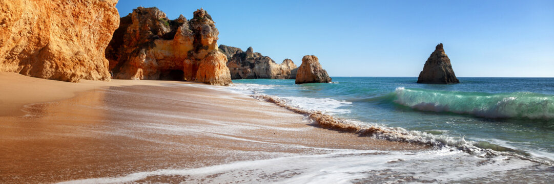 Algarve beach, panoramic banner view