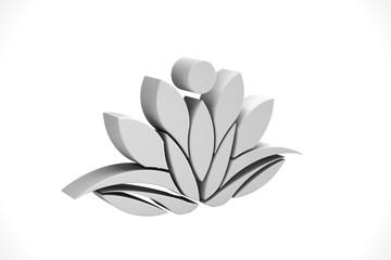WhiteLotus Flower Background. 3D Render Illustration