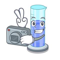 Photographer graduated shaped cylinder Isolated on cartoon