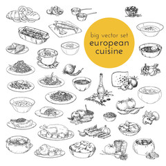 large vector set hand drawn illustrations of food. European cuisine. sketches for the decoration of restaurants, cafes, menus,