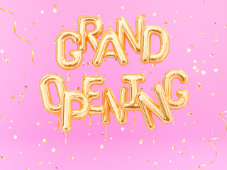 Grand Opening phrase sign letters with golden confetti. Grand opening celebration banner. 3d rendering