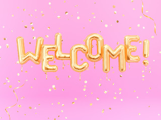 Welcome text sign letters with golden confetti, pink and gold banner. 3d rendering