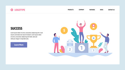 Vector web site gradient design template. Business success, winner on the top position with reward. Landing page concepts for website and mobile development. Modern flat illustration.