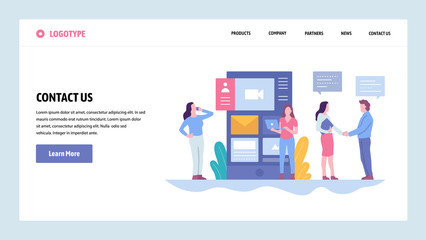Vector web site gradient design template. Contact Us company information page. Landing page concepts for website and mobile development. Modern flat illustration.