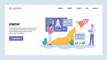 Vector web site gradient design template. Business technology sratrup. Rocket launch. Landing page concepts for website and mobile development. Modern flat illustration.