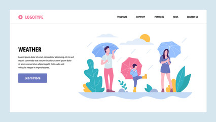 Vector web site gradient design template. Happy family walking in the rain in park. Weather on fall season day. Landing page concepts for website and mobile development. Modern flat illustration.