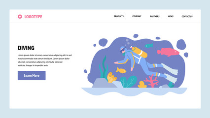 Vector web site gradient design template. Scuba diving. Diver underwater watch sea life. Landing page concepts for website and mobile development. Modern flat illustration.