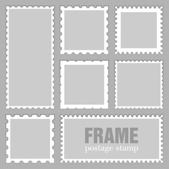 Blank rectangle and square postage stamps, with a shadow isolated on grey background. Empty white template  paper mark symbol of delivery correspondence. Vector frame