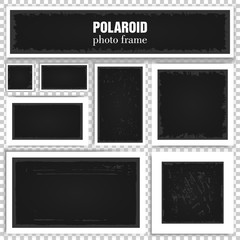 Set of realistic photo frames with shadows isolated on transparent background. Old empty square and rectangle framework. Vector