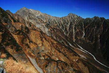 北アルプス槍穂高連峰 荒々しい岩山の風景