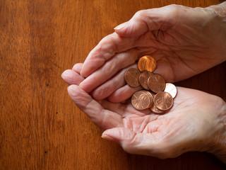 Elderly Woman's Wrinkled Hands Holding Pennies