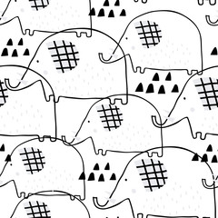 Cute seamless pattern with elephants in pastel colors. Creative childish background.