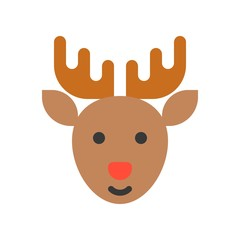 reindeer with red nose, Merry Christmas icon set, flat design