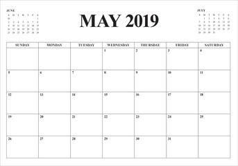 May 2019 desk calendar vector illustration