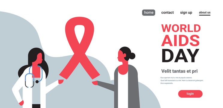 World AIDS day awareness red ribbon sign female doctor woman consultation prevention poster horizontal flat copy space
