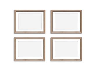 Photo frames mock up, four blank wooden set collage, 3d illustration