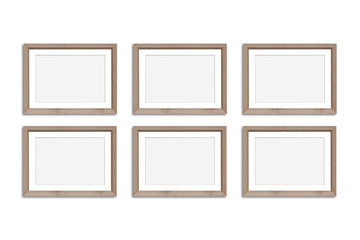 Frames collage, six blank wooden frameworks mock up, isolated on white background
