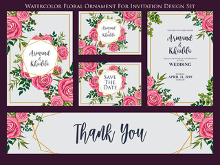 vintage flower watercolor ornament for invitation design set
