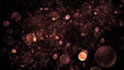 Abstract pink and orange particles. Colorful holiday background. Digital fractal art. 3D rendering.