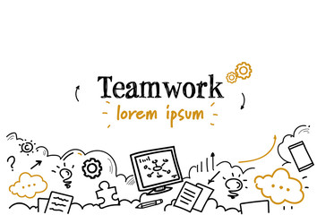 successful business strategy teamwork concept sketch doodle horizontal isolated copy space