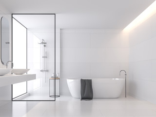 Minimal style white bathroom 3d render, There are large white tile wall and floor.There have glass partition for shower zone,The room has large windows.Natural light transmitted through the room. Fototapete