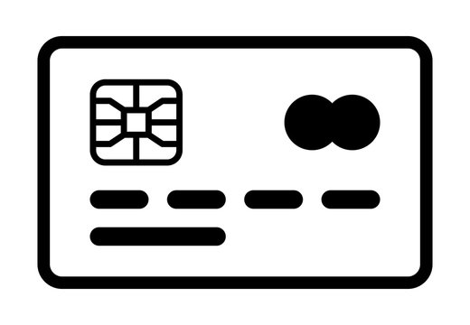 Credit or debit charge card with chip for payment line art vector icon for apps and websites